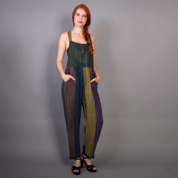 90s PATCHWORK Stripe OVERALLS / Loose Fit Slouchy JUMPSUIT