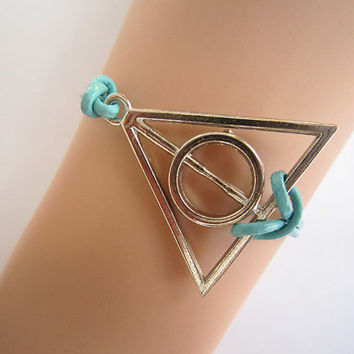 Antiqued Silver Deathly Hallows Bracelet, Teal Blue Genuine Leather Rope, Harry Potter Jewelry, Friendship Christmas Birthday Brides Maid