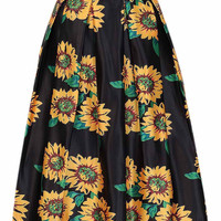 Black Sun Flower Printed High Waist Skater Skirt