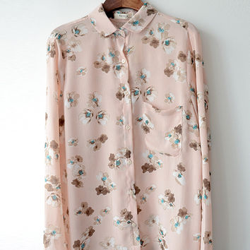 Flower Chiffon Shirt in White or Pink