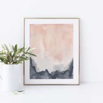 Contemporary Abstract Blush and Blue Art Print