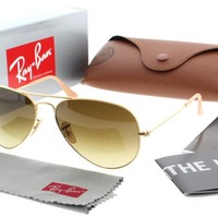 Ray Ban RB 3025 112/85 Matte Gold w/ Brown Gradient Lens Aviator Sunglasses 58mm