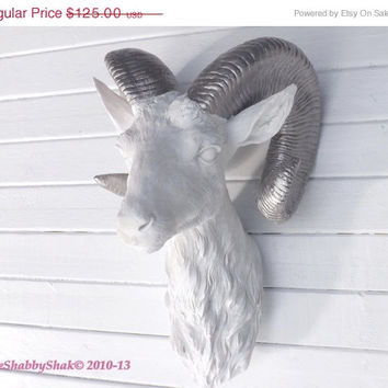 ON SALE Faux Taxidermy / Ram Head / Animal Head Wall Mount / Modern Wall Decor