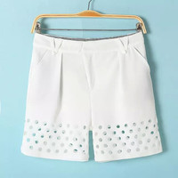 Cutout Dots Shorts With Pockets