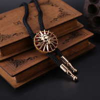 Adjustable Bull Head Western Cowboy Skull Kito Bolo Tie Necktie Faux Leather Pendant Necklace