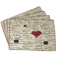 Tache Romantic I Love You Valentine's Beige Woven Tapestry Placemat (18111)