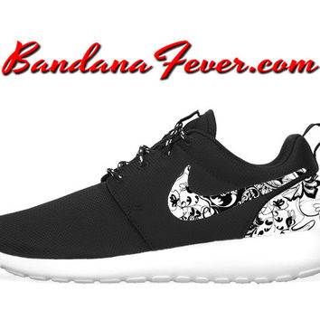 "Nike ""Black Floral"" Roshe Run Men's Black/White + FREE SHIPPING - by Bandana Fever"