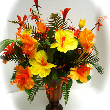 Silk Floral Table Arrangement Centerpiece with Tropical Orange and Yellow Hibiscus