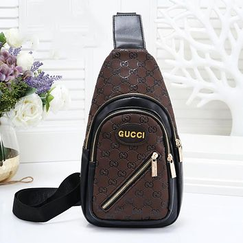 GUCCI Fashion New More Letter Leather Women Men Leisure Shoulder Bag Coffee