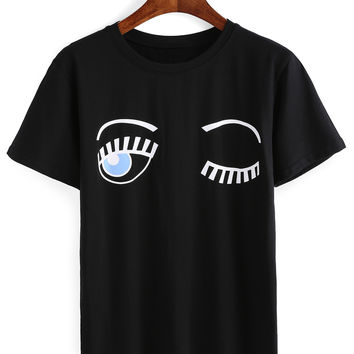 Black Blinking Eyes Printed T-Shirt