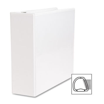 """Business Source D-Ring Binder, w/ Pockets, 3"""" Capacity, White"""