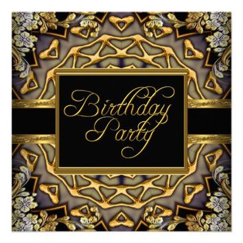 Ornate Gold Black Woman's Birthday Party Invites from Zazzle.com