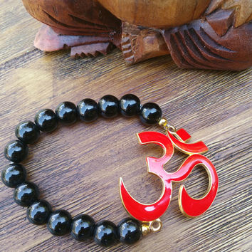 Original Collection - Red Om Pendant/Black Beaded Hand Made Bracelet