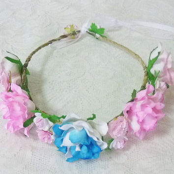 Rose crow Pink baby blue rose headband Tie back Flower crown paper