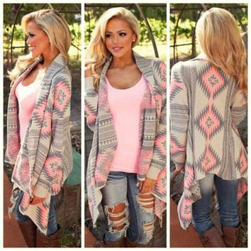 ONETOW PRINTED LONG-SLEEVED KNIT CARDIGAN JACKET