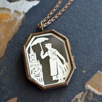 SALE 20% OFF // Coupon code: SALE20 // Mary Poppins Hand-Cut Miniature Silhouette Papercut Glass Locket Necklace - Limited Edition
