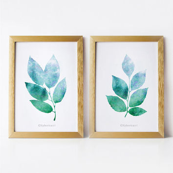 Nature art wall prints, Printable art set, Blue green art, 5x7 prints, PRINTABLE wall art Set of 2 prints, 5x7 art Bathroom decor Leaves art