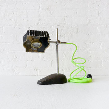 10% SALE - Antique Industrial Magnifier LAMP Jewelers Light with Neon Green Yellow Cord OOAK