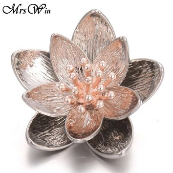 5pcs/lot New Snap Button Jewelry 18mm Charm Big Lotus Flower Snap Buttons Fit Snap Bracelet for Women Snaps Buttons Jewelry
