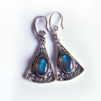 Triangular dangle earrings with labradorite cabochons