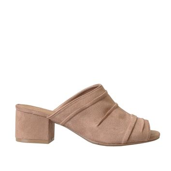 Taupe Suede Textured Mules