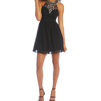 B. Darlin Beaded Illusion High-Neck Party Dress | Dillards