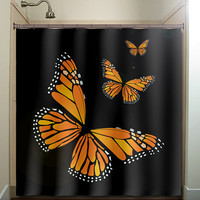 monarch butterfly shower curtain bathroom decor fabric kids bath white black custom color curtains