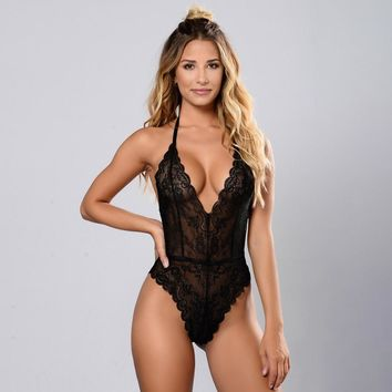 Gagalook 2018 Deep V Lace Bodysuit Sexy Mesh Bodysuit Sleeveless Fitness Summer Jumpsuit Backless Slip Leotard Bodies