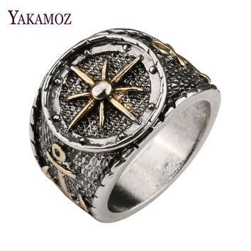 Silver Color Ring Compass Pattern Ring For Men And Women 2018 Fashion Anchor Finger Ring For Best Friend Drop Shipping
