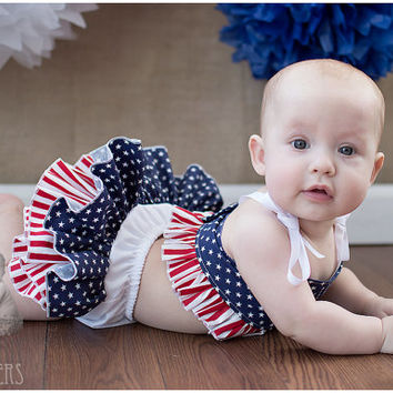 Red White Blue 4th of July Baby Bloomer Ruffle Diaper Cover Ruffle Bloomer Panty