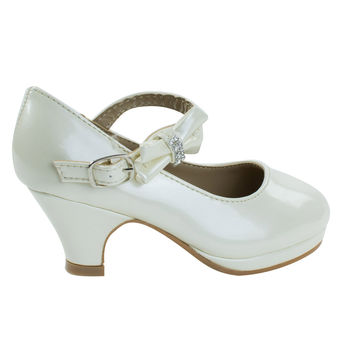 Dana62K Ivory by Forever Link, Girl Round Toe Mary-Jane Dress Pump w Platform. Children Shoes
