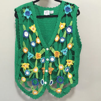 Green Sweater Vest, Floral Cut Outs Open Weave Vintage Cardigan Vest, Button Down Vintage Sweater, Kelly Green Spring Flowers Vintage 90s L