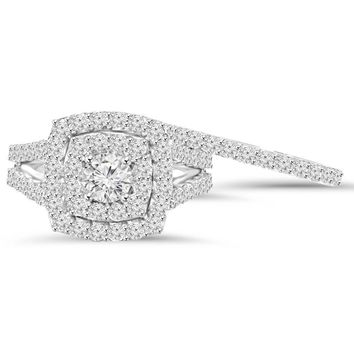 2 cttw Diamond Cushion Double Halo Engagement Wedding Ring Set