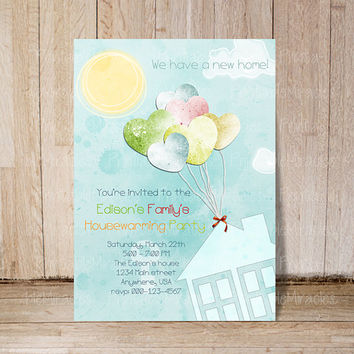 Housewarming Party Invitation or New Home Card We moved announcement House invite Personalized Printable custom scrapbooking blue ballons