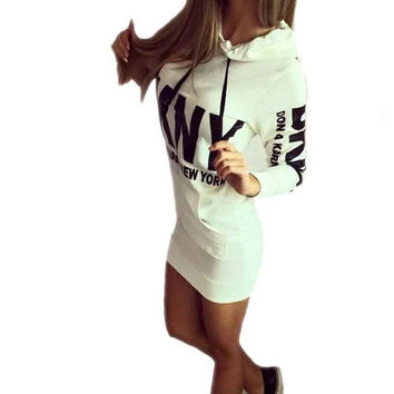 Long Sleeve Slim College Style Women bodycon hoody Dress Letter Print with Hooded Front Pocket sweatshirt Autumn Hoodie 70101 SM6