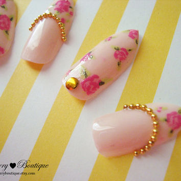 3D Fake Nail Set - Pastel Pink Gyaru Vintage Rose Floral Print Stiletto Nails with Gold Beads and Studs