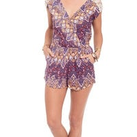 Tribal Escape Printed Surplice Romper