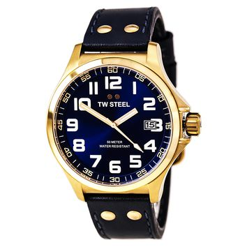 TW Steel TW404 Men's Pilot Blue Dial Blue Leather Strap Rose Gold Steel Watch