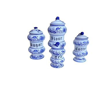 Pre-owned Blue Onion Kitchen Canister Set