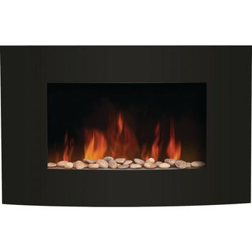 Convex Front Wall-Mount LED Fire Effect Electric Fireplace Black Glass Frame