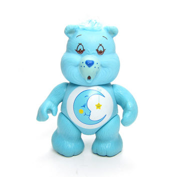 Bedtime Bear Care Bears Vintage Poseable PVC Toy Figurine, Aqua Blue with Crescent Moon & Star on Tummy