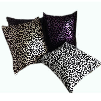 ping Pu leather Flocking Cushion cover Leopard pattern Decorative pillow cover 45x45cm home textile bedding wedding Alternative Measures