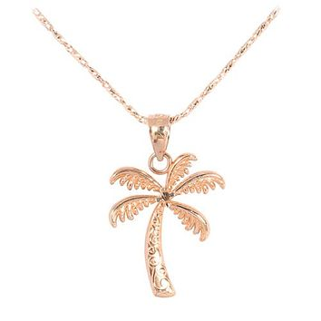 Pink Gold Palm Tree Pendant(S)