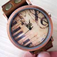 Woman Watch Leather Band Piano & Music clef (0011)