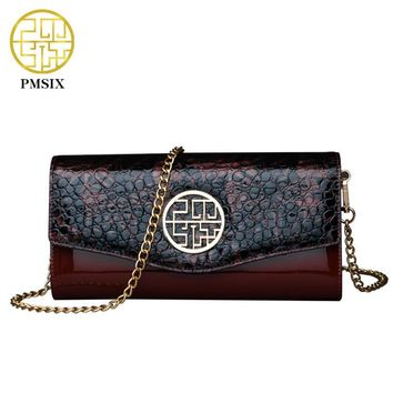 Pmsix 2017 New Crocodile Pattern Vintage Patent Leather Handbags Wine Red Brand Chain Womens Evening Clutch Bags P420036