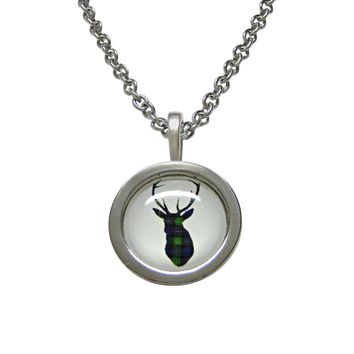 Circular Dark Green Stag Deer Head Pendant Necklace