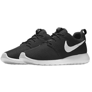 NIKE Women Men Running Roshe Sport Casual Shoes Sneakers Black white hook