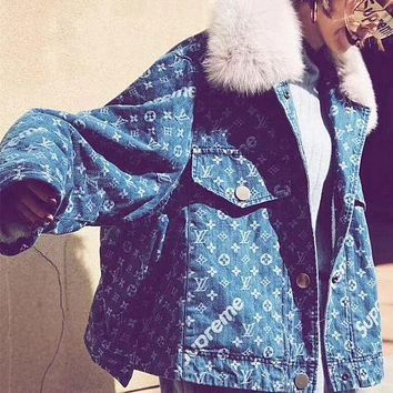 """Louis Vutitton LV×Supreme"" Women Fashion Logo Letter Long Sleeve Cardigan Fur Collar Denim Wool Cotton Coat"