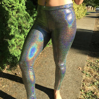Shiny Silver Rainbow Holographic Sparkly Leggings