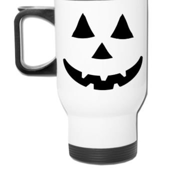Pumpkin Face Art  - Travel Mug